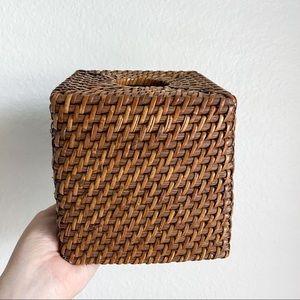 Vintage brown rattan tissue box cover boho